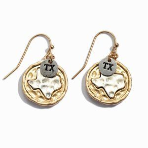 Gold & Silver Hammered Coin Earrings - Texas